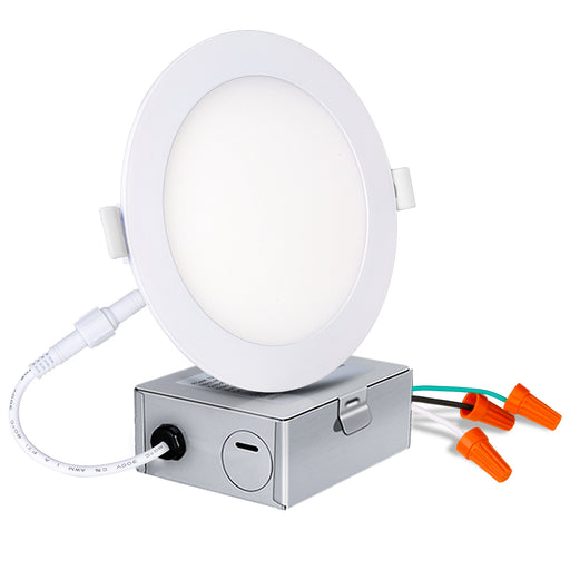 6 IN. LED Slim Panel Light with Junction Box, 12W 850lm 3000K Warm White, CRI90 - 4 Pack