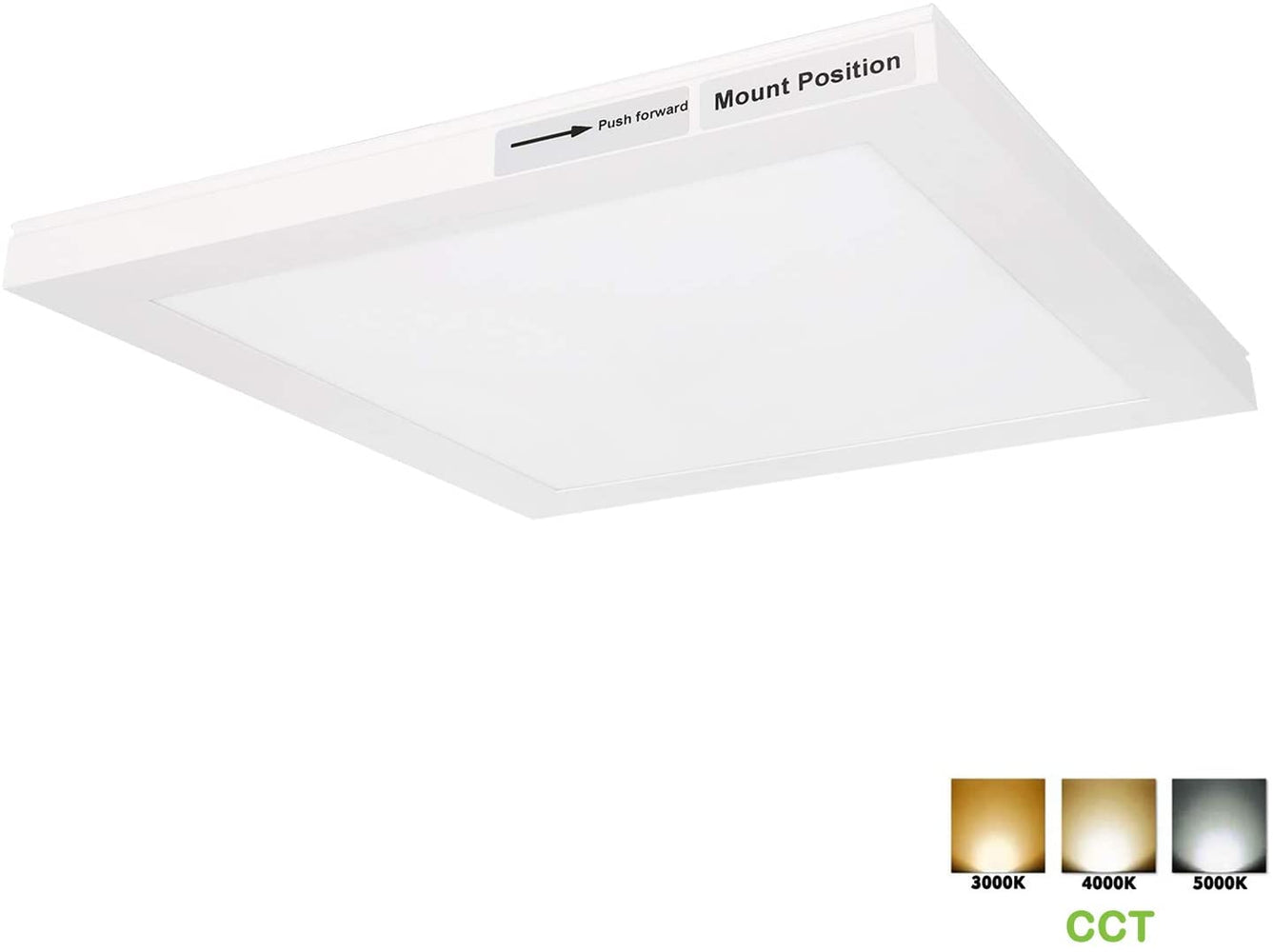 Hykolity 1x1 FT LED Flat Panel Flush Mount Light, 12W Ultra Slim Edge-Lit Ceiling Light Fixtures, 3/4/5K CCT 1200lm, Built-in Driver Surface Mount Light for Kitchen Garage Basement, ETL Listed