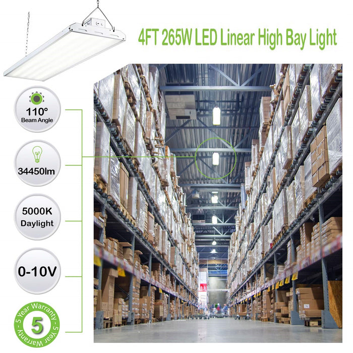 4 ft. 265W Linear LED High Bay Light Fixture, 34450 lm 5000K, Equivalent to 10-Lamp F54T5HO Fluorescent Fixture