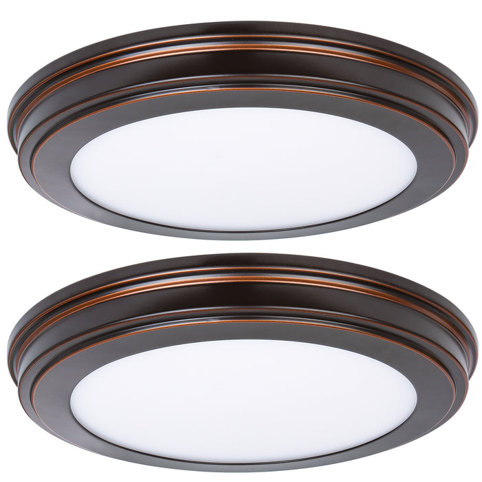 13 inch Low Profile LED Ceiling Light, 20W 1365lm, 30K/40K/50K Selectable, CRI90, Flush Mount, ORB Finish- 2 Pack