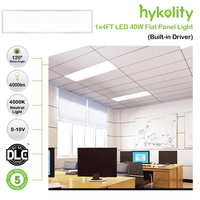 Hykolity 1x4 FT 40W 4000lm 4000K Ultra Slim Flushmount Built-in Driver LED Flat Panel troffer Light, Residential Surface Mount/Commercial Drop Ceiling Dimmable Ceiling Fixture ETL Listed
