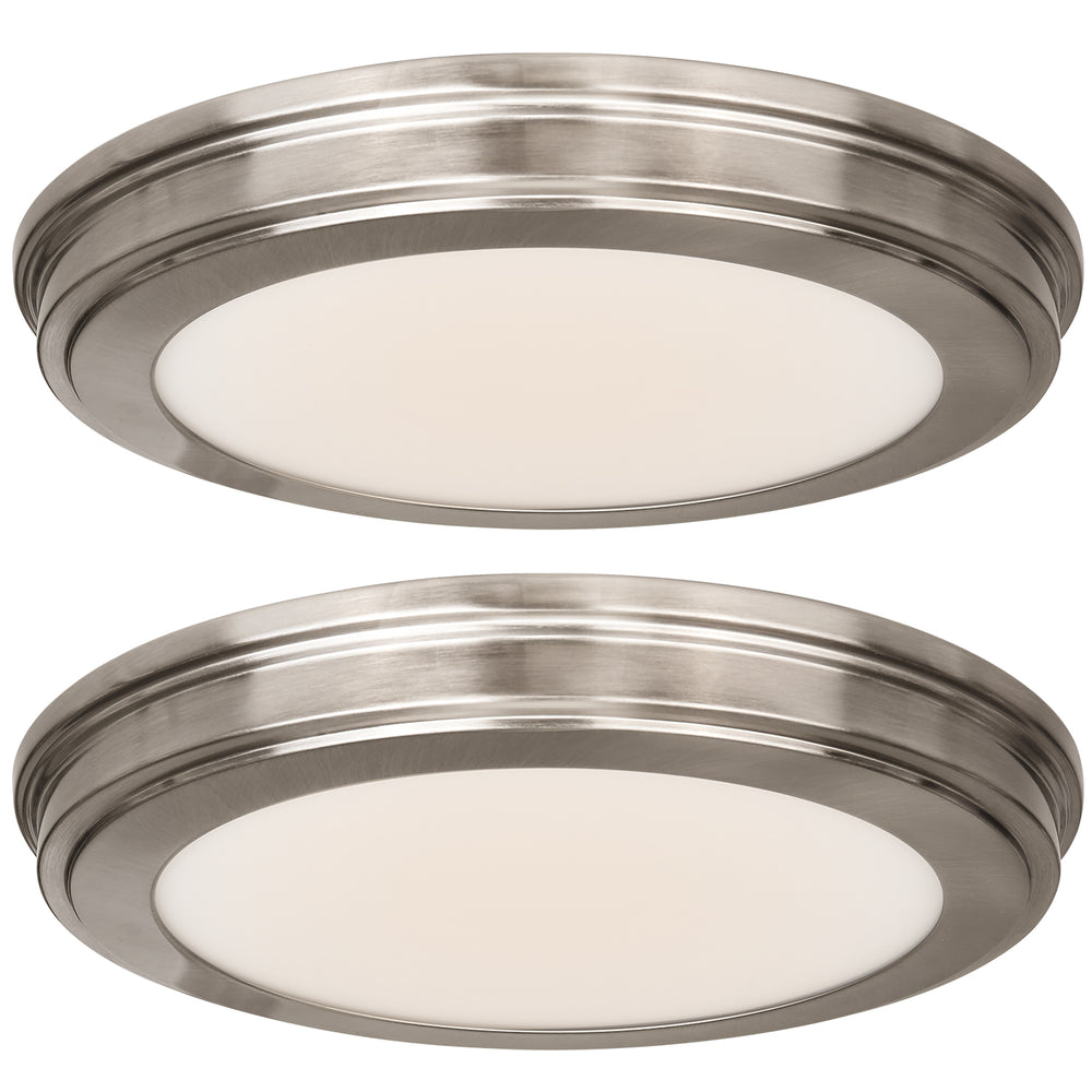 13 inch low profile led ceiling light 20w 1365lm 30k 40k 50k selectable cri90 flush mount bn finish 2 pack