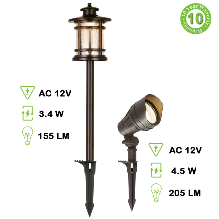 8 Pack Low Voltage LED Landscape Kits, 12V Pathway Flood Light Kits, 10W 390LM and 3.4W 155LM Wired for Outdoor Yard Lawn, Die-cast Aluminum, 50W and 30W Equivalent 15-Year Lifespan
