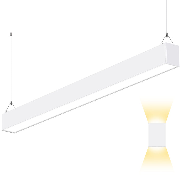 4FT 50W Indirect & Direct LED Architectural Linear Light For Office, 5500lm, 30K/40K/50K CCT Selectable, White Finish