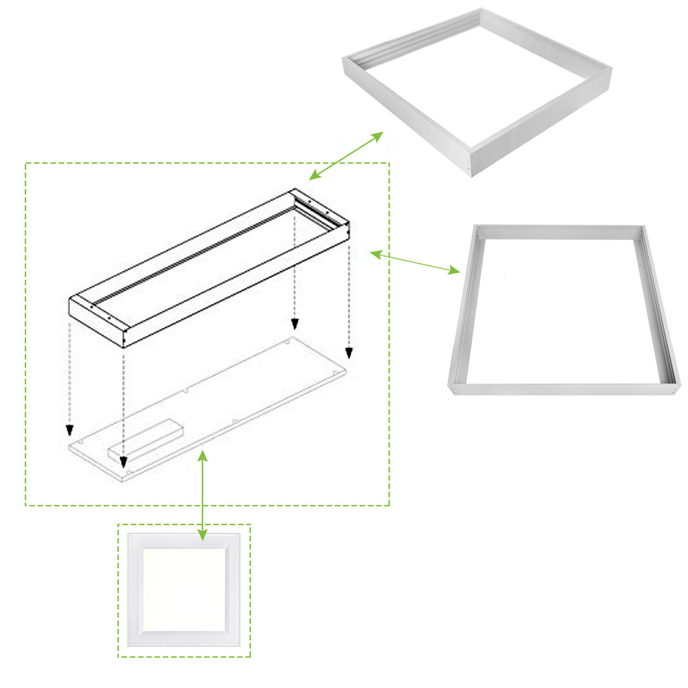 Drop Ceiling Light Surface Mount Kit for 2x2 ft. LED Troffer Flat Panel