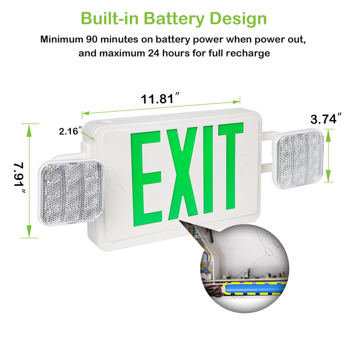 LED Emergency light combo, 2 heads, 100-277V, Universal Mounting, Green Letter with 90 Mins Battery Backup