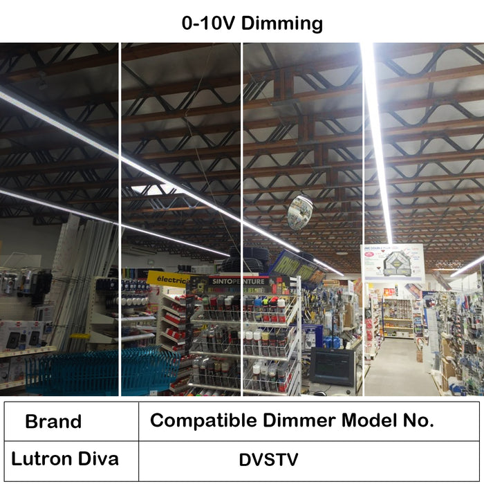 8 ft. 75W Dimmable LED Linear Strip Shop Light Fixture, 9750lm 5000K, Equivalent 4-lamp F32T8 / 2-lamp F96T12 Fluorescent Fixture