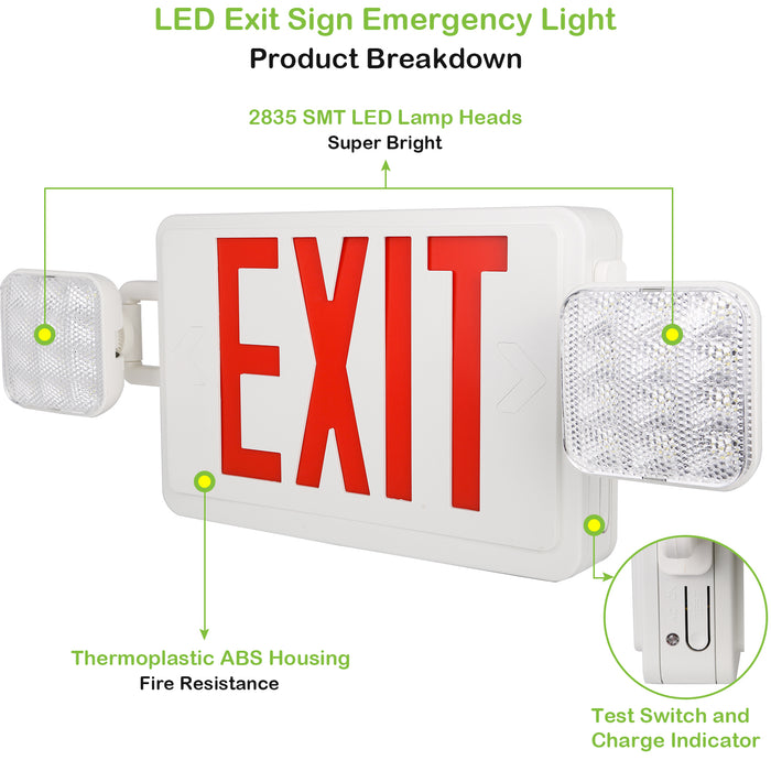 LED Emergency light combo, 2 heads, 100-277V, Universal Mounting, Red Letter with 90 Mins Battery Backup -2 Pack