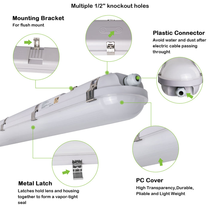 4FT 40W LED Vapor Tight Light Fixture, 4400 lm, 5000K, For Wet Location