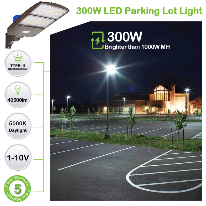 LED Parking Lot Lights 300W, 39000LM (130LM/W) 5000K Daylight with Dusk to Dawn Photocell,[750W HPS Equiv.] LED Shoebox Pole Lights, Waterproof Commercial LED Area Light, Arm Mount