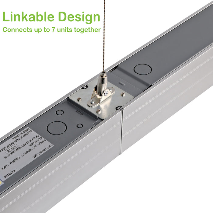4FT 40W Linkable LED Architectural Linear Light For Office, 4600lm, 5000K Daylight Only, Silver Finish