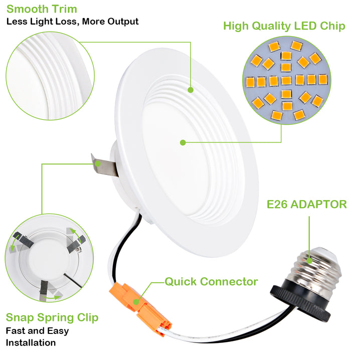 4 in. Dimmable LED Recessed Down Light, 9W 600 lm 3000K, CRI90, 4 Pack Gen 3