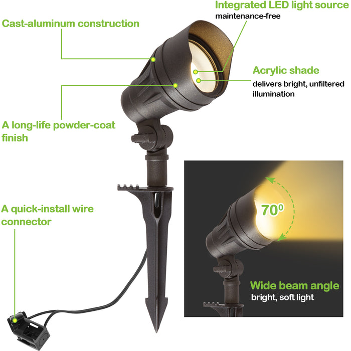 LED Landscape Light Kits For Pathway, 12V AC, 4.5W 205LM Spot Light (2 Heads) + 3W 150LM Flood Light (4 Heads), ORB Finish, Driver & Cable NOT included in Kit