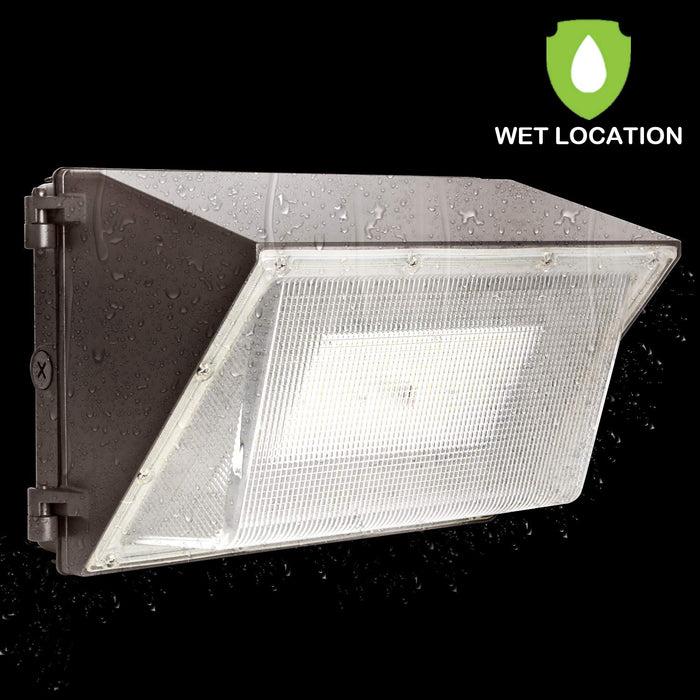 LED Wall Pack with Photocell, 80W 10400lm 5000K Daylight, DLC Complied