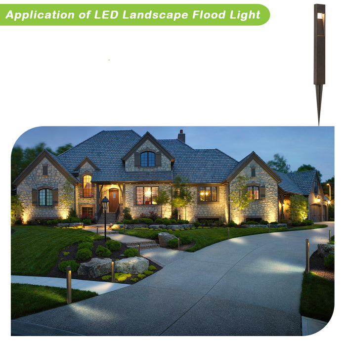Low Voltage Landscape Pathway Light, 2W 48LM Matte Black Integrated LED Outdoor Walkway Light for Yard Lawn, Die-Cast Aluminum Construction, 4-Pack, ETL Listed, 15-Year Lifespan