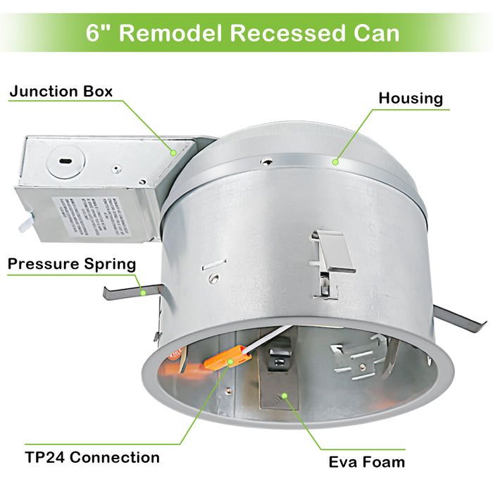 6 Inch Remodel LED Light Can, Airtight IC Housing with TP24 Connector for LED Recessed Downlight Retrofit Kit,ETL Listed(12pack)