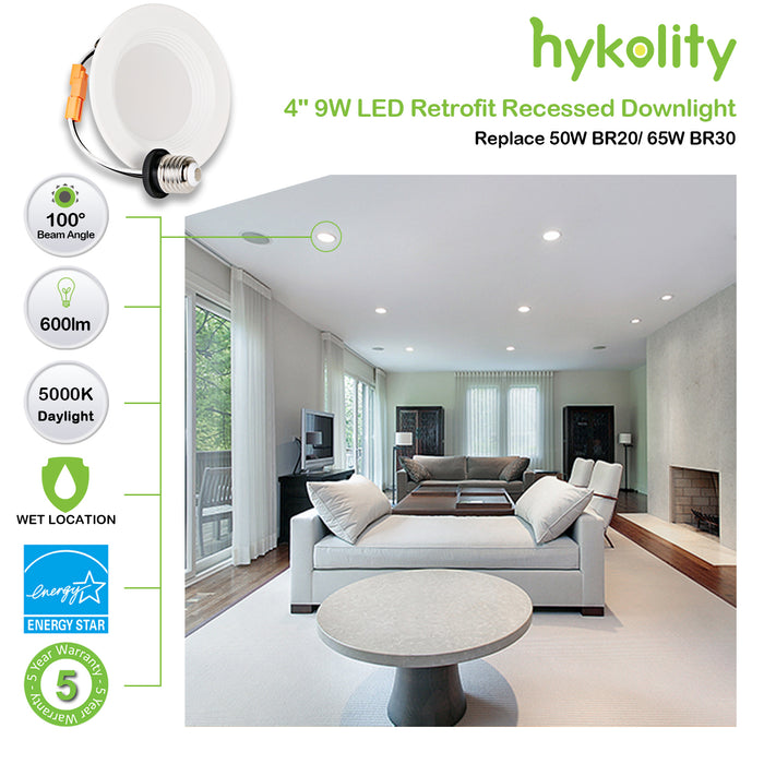 4 in. Dimmable LED Recessed Down Light, 9W 600 lm 5000K, CRI90, 4 Pack Gen 3
