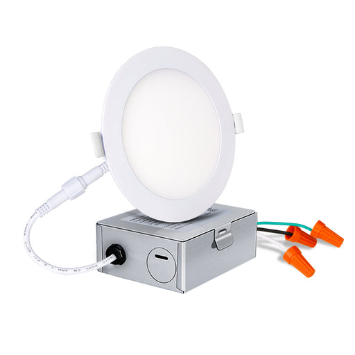 4 IN. LED Slim Panel Light with Junction Box, 10W 650lm 4000K Cool Light, CRI90 - 4 Pack