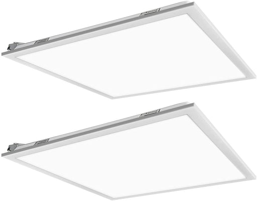 2x2 40W Flat LED Troffer Panel Light, 4400 lm 4000K Recessed Mount 0-10V Dimmable - 2 Pack
