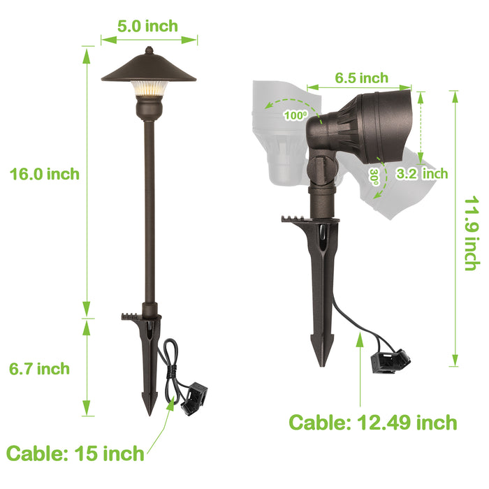 LED Landscape Light Kits For Pathway, 12V AC, 10W 390LM Spot Light (2 Heads) + 3W 150LM Flood Light (6 Heads), ORB Finish, Driver & Cable NOT included in Kit