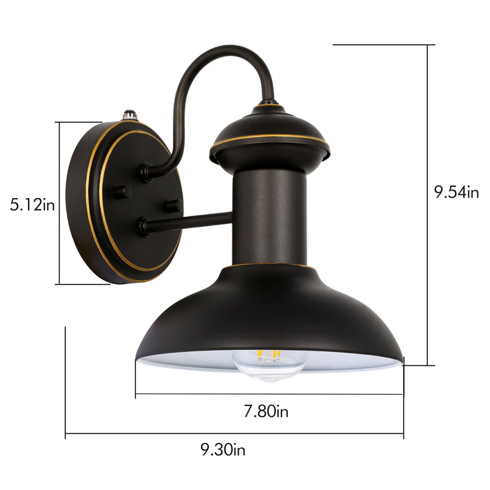 Outdoor Wall Sconce with Dusk to Dawn Photocell, Exterior Wall Light Fixture with LED Bulbs, Oil Rubbed Bronze Wall Lantern with Metal Shade for Entryway, Porch, Front Door, ETL Listed, 2 Pack