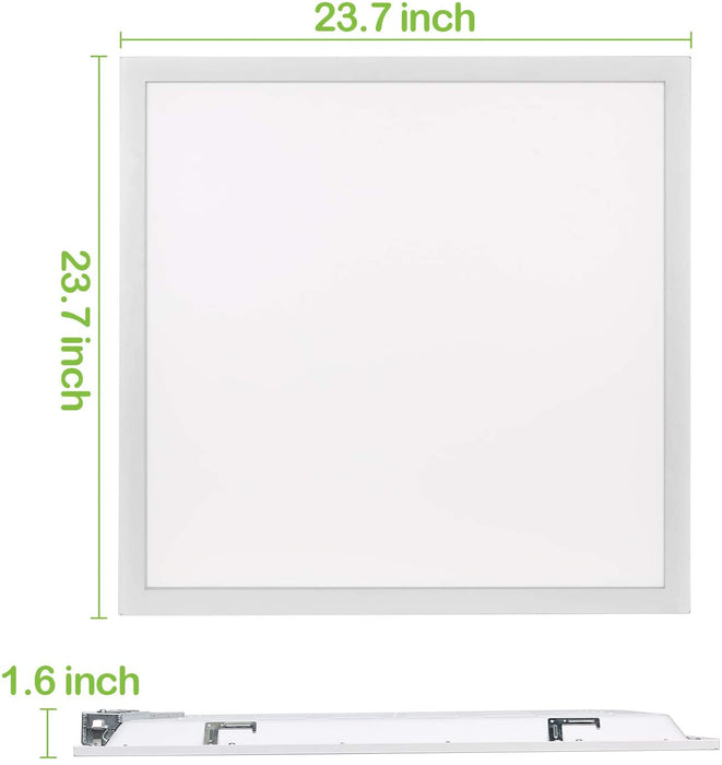 2x2 40W Flat LED Troffer Panel Light, 4400 lm 5000K Recessed Mount 0-10V Dimmable - 2 Pack