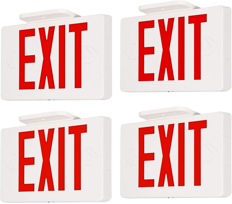 LED Exit Sign for Emergency, 100-277V, Universal Mounting, Double-side Red Letter with 90 Mins Battery Backup 4 Pack