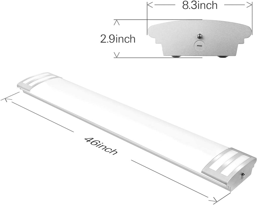 4FT LED Flush Mount Linear Lights, 50W 5500lm Puff Lights, 4000K Neutral White, 4-Foot LED Kitchen Ceiling Lighting Fixtures for Craft Room, Laundry, Fluorescent Replacement, ETL Certified