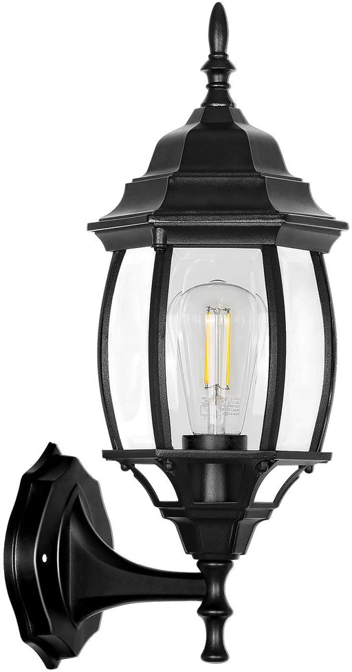 Outdoor Wall Lantern with LED Bulb, Die-Cast Aluminium Porch Light Fixtures, Architectural Wall Sconce for Front Door, Backyard and Patio, Matte Black with Bevelled Glass Panels, ETL Listed