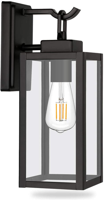 Outdoor Wall Lantern, LED Bulb Included, Matte Black Wall Sconce Light Fixtures, Architectural Fixture with Clear Glass Shade ETL List for Entryway, Porch, Doorway