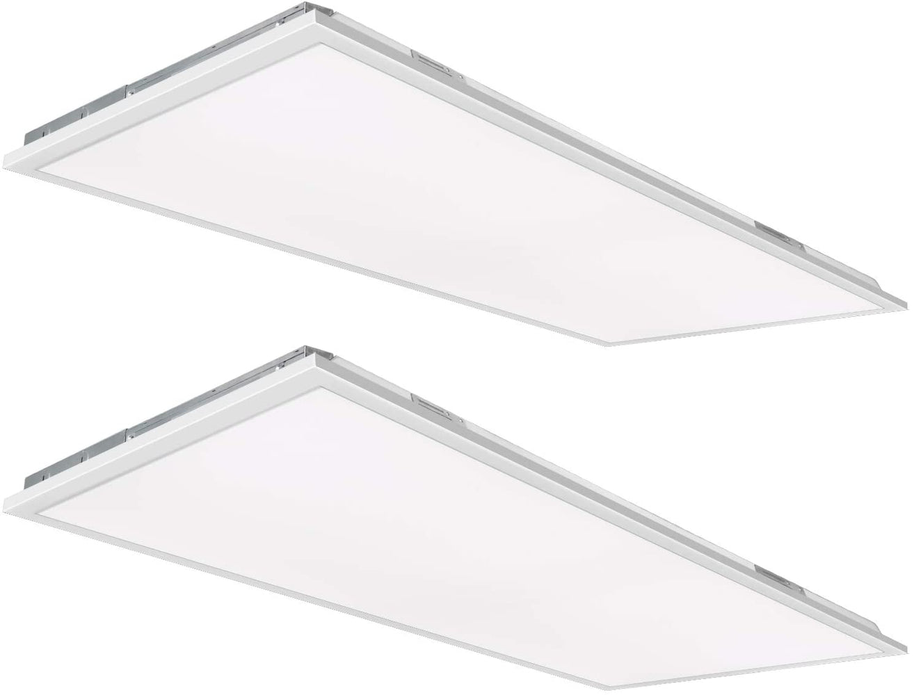 2x4 50W Flat LED Troffer Panel Light, 5500 lm 4000K Recessed Mount 0-10V Dimmable - 2 Pack