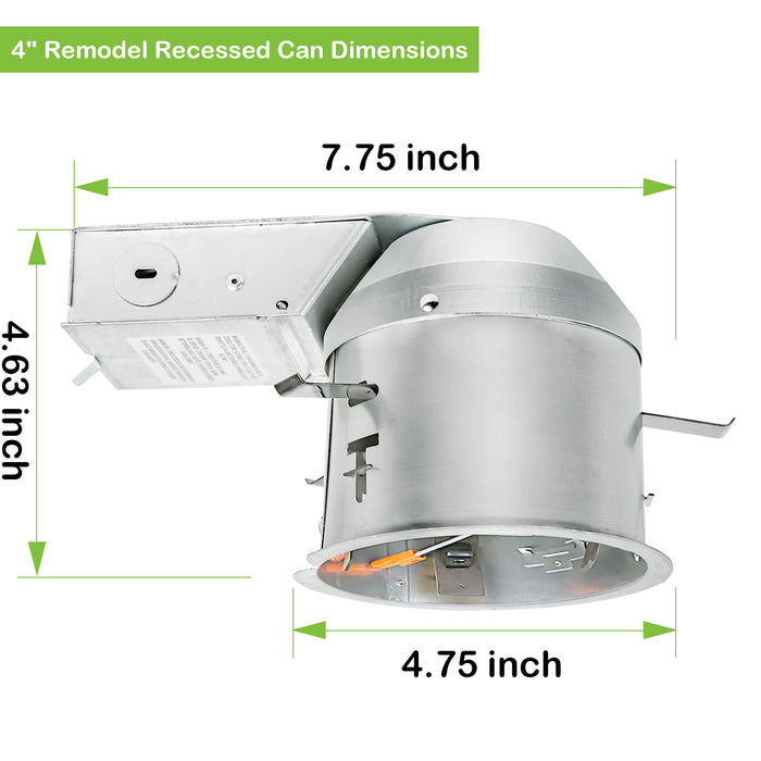 4 Inch Remodel LED Light Can, Airtight IC Housing with TP24 Connector for LED Recessed Downlight Retrofit Kit,ETL Listed(12pack)