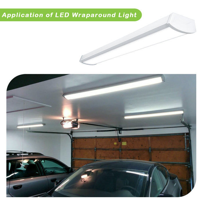 4FT LED Commercial Ceiling Wraparound Shop Light Fixture 40W 4000lm Low Profile Linear Flushmount Office Garage Home [2 lamp 32W Fluorescent Equivalent] 4000K Daylight ETL Listed