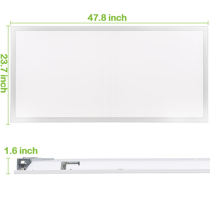 2x4 50W Back-Lit Flat LED Troffer Panel Light, 5500 lm 5000K Recessed Mount 0-10V Dimmable - 2 Pack