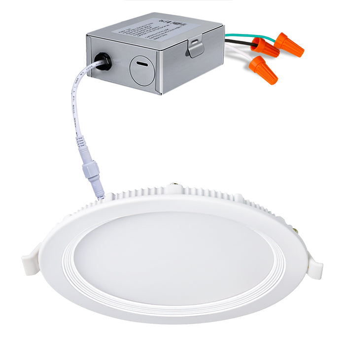 6 IN. LED Slim Panel Light with Junction Box, Baffle Type, 12W 850lm 3000K Warm White, CRI90 - 4 Pack
