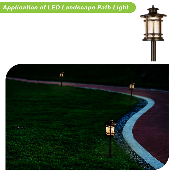 Low Voltage Outdoor LED Landscape Path Light with Crackled Shade, Die-cast Aluminum Construction, 3.4W 155LM, 6 Pack