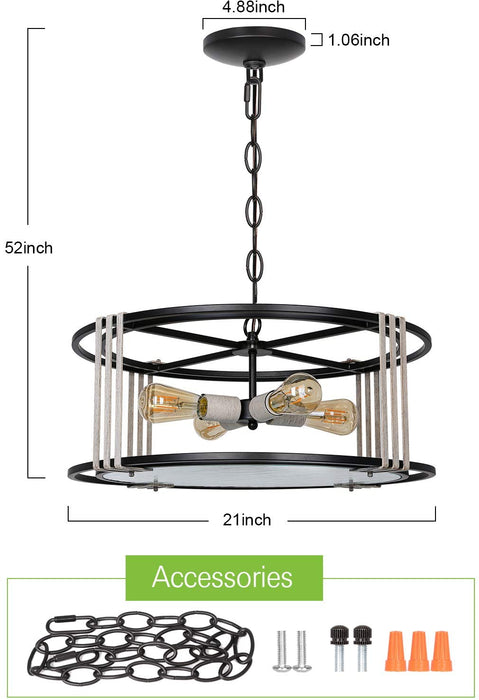 "Hanging Pendant Lighting, 4-Light Kitchen Drum Chandelier Light, Metal Frame with Water Wave Glass Panel Diffuser, Matt Black & White Wood Painting, 7.87"" H x 21"" W"