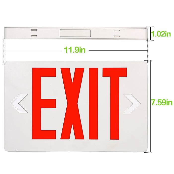 LED Exit Sign for Emergency, 100-277V, Universal Mounting, Double-side Red Letter with 90 Mins Battery Backup 2 Pack