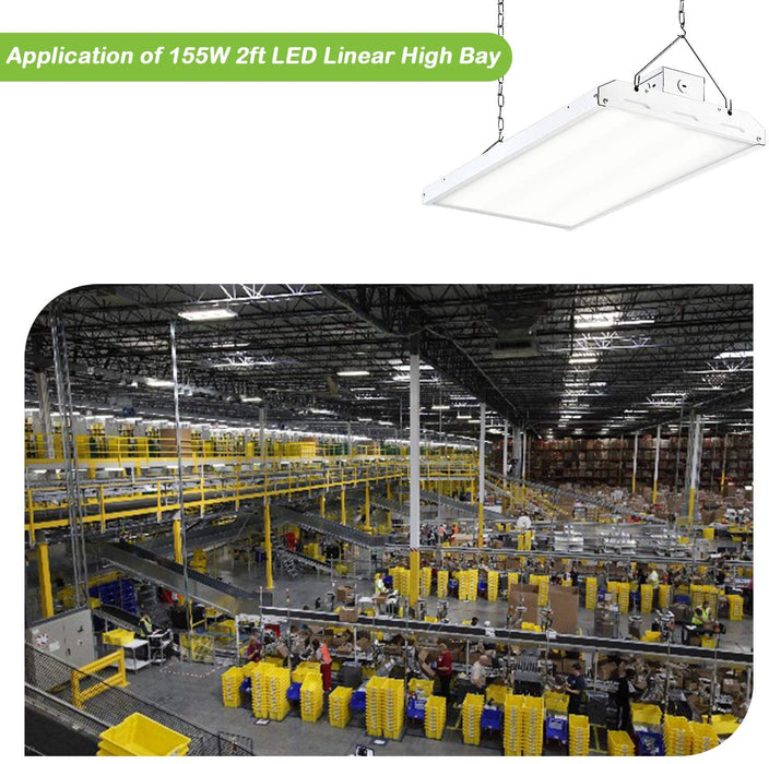 2FT LED High Bay Shop Light,155W 21700lm 140LM/W [400W Equiv.} 5000K Daylight Linear Hanging Light for Warehouse, 6 Lamp Fluorescent Fixture Replacement, 1-10V Dim, UL Complied