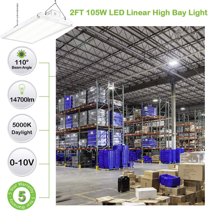 LED High Bay Shop Light, 2FT 105W 140LM/W Linear LED Industrial Workshop Light, Warehouse Aisle Area Light 14700lm, 5000K, 4 Lamp Fluorescent Equivalent, 1-10V Dim, UL Complied
