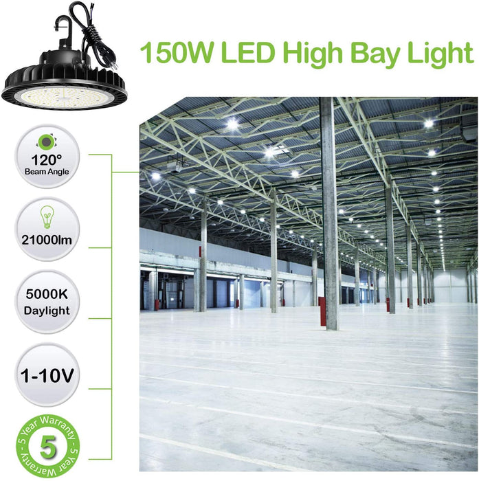 LED High Bay Light 150W 1-10V Dimmable 5000K 21,000lm UFO LED High Bay Light Fixture 5' Cable with US Plug [250W/400W MH/HPS Equiv.] Commercial Warehouse/Workshop/Wet Location Area Light