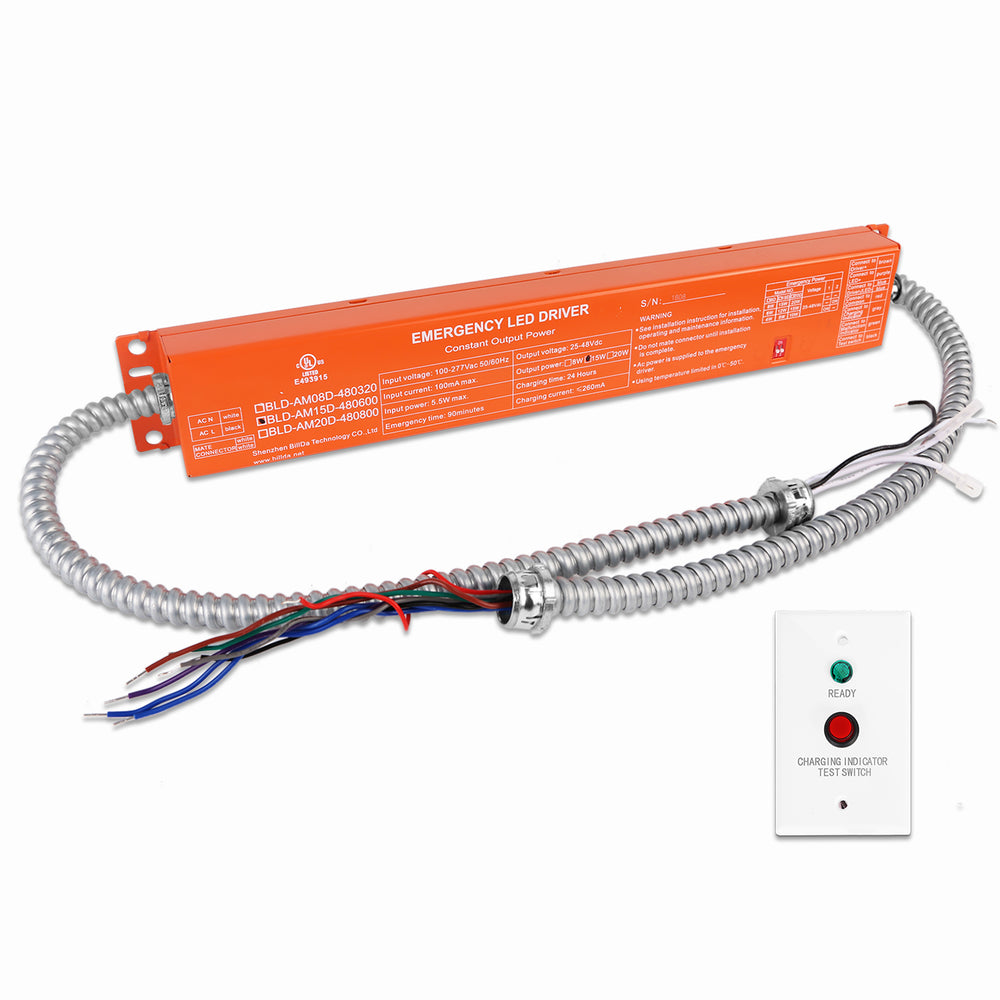 Emergency LED Driver Backup Battery with Indicator Panel for High Bay, Flat Panel, Troffer, & Linear Light