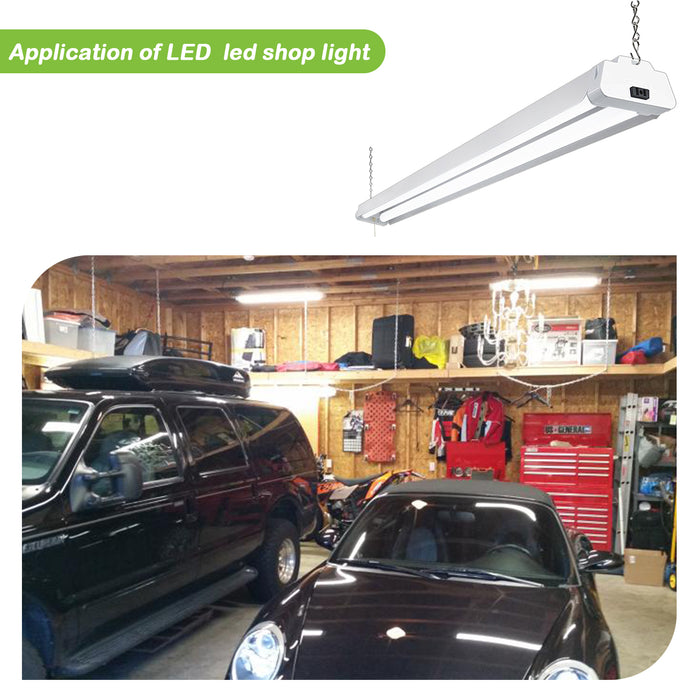 4FT LED Shop Light For Garage, 42W 3700lm 5000K Daylight White, With Pull Chain, Linkable
