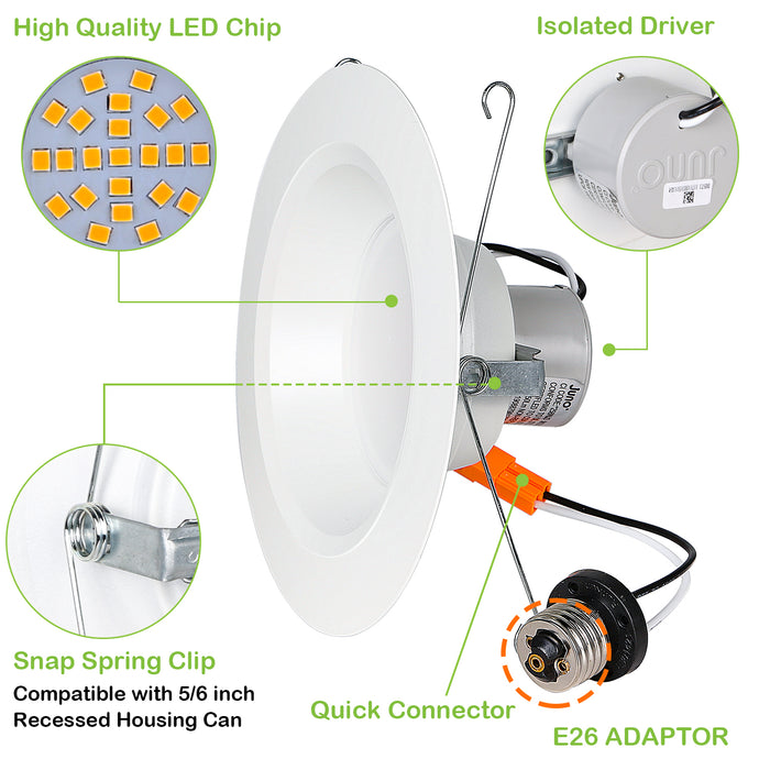 Juno 5/6 in. Dimmable LED Recessed Lights, Wet Rated Retrofit Can Light, CRI90, 10W, 650lm, 4000K, 24 Pack