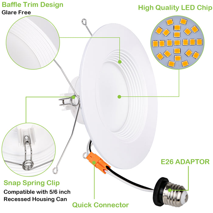 5/6 in dimmable led recessed lights retrofit can light 15w 1100lm  3000k cri90 12 pack