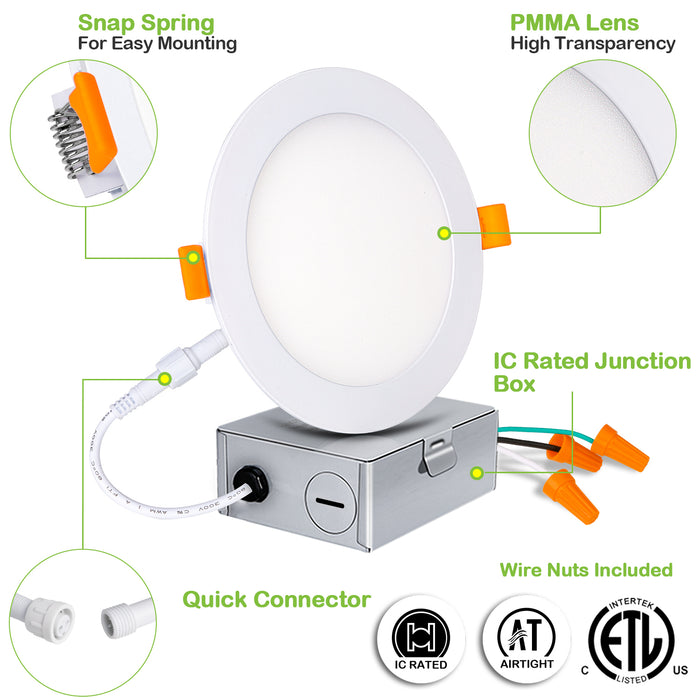 6 IN. LED Slim Panel Light with Junction Box, 12W 900lm 3000K Warm White, CRI90 - 12 Pack