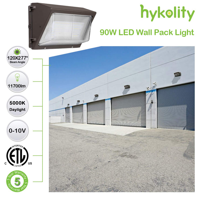 LED Wall Pack with Photocell, 90W 11700lm 5000K Daylight, DLC Complied
