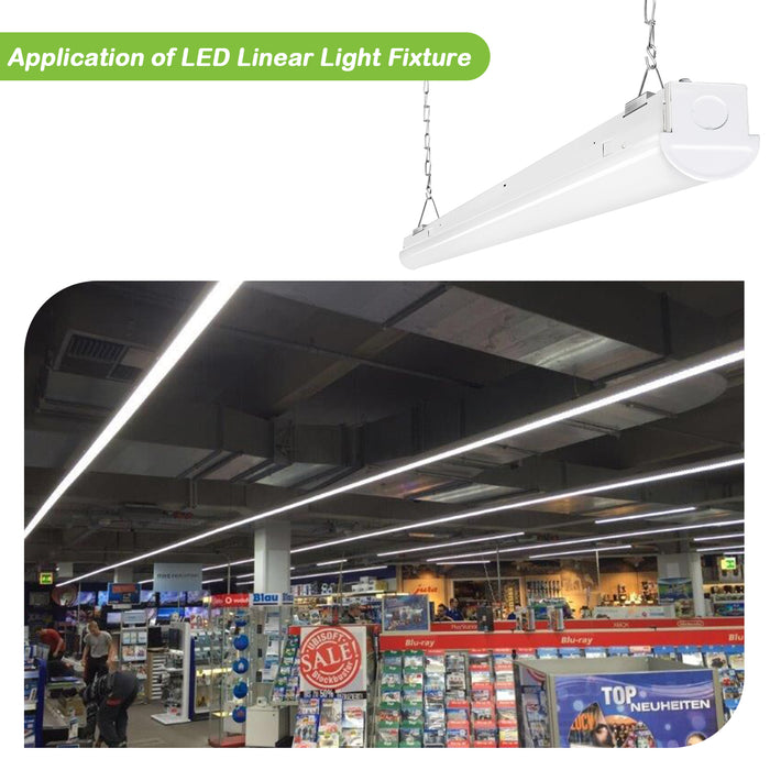 8ft. 110W Dimmable LED Linear Strip Shop Light Fixture, 14300lm 5000K, Equivalent 6-lamp F32T8 / 2-lamp F96T12 Fluorescent Fixture
