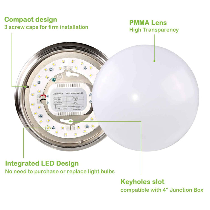 9 in. 14W Brushed Nickel LED Ceiling Light, 1000 lm 4000K Dimmable Flush Mount #CN C09