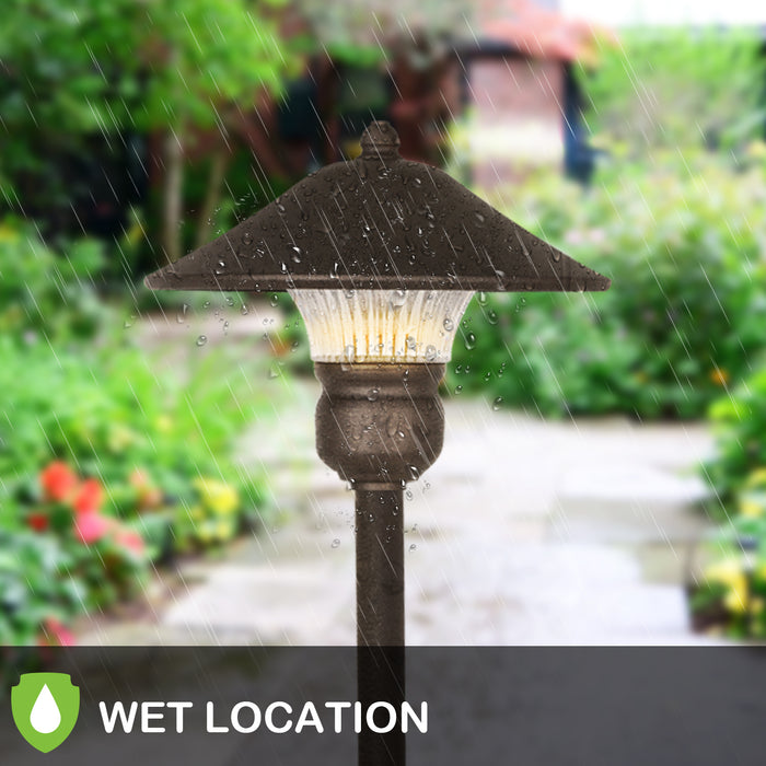 3-Head Surface-Mount Post Combination ETL Listed Walkway Hykolity LED Outdoor Post Light LED Bulbs Included Patio Wet Location LED Landscape Post Lighting for Backyard Garden